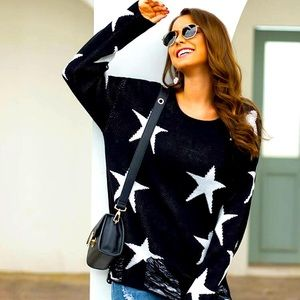 Distressed Star Top Oversized Sheer Knit Cutout